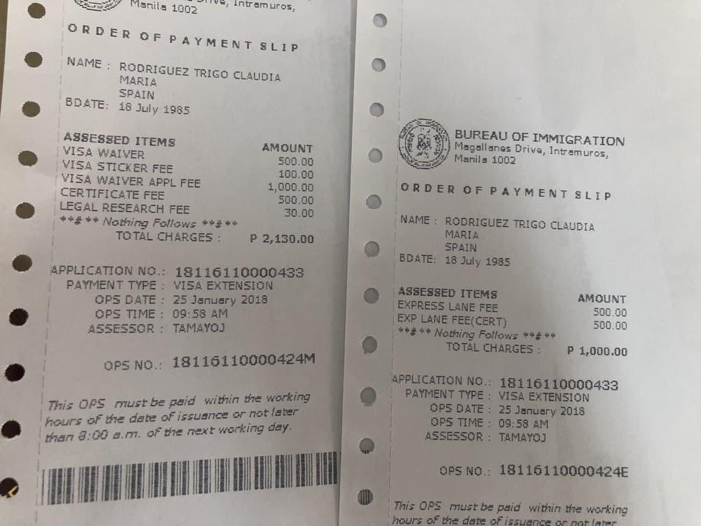 coste extensión visado filipinas