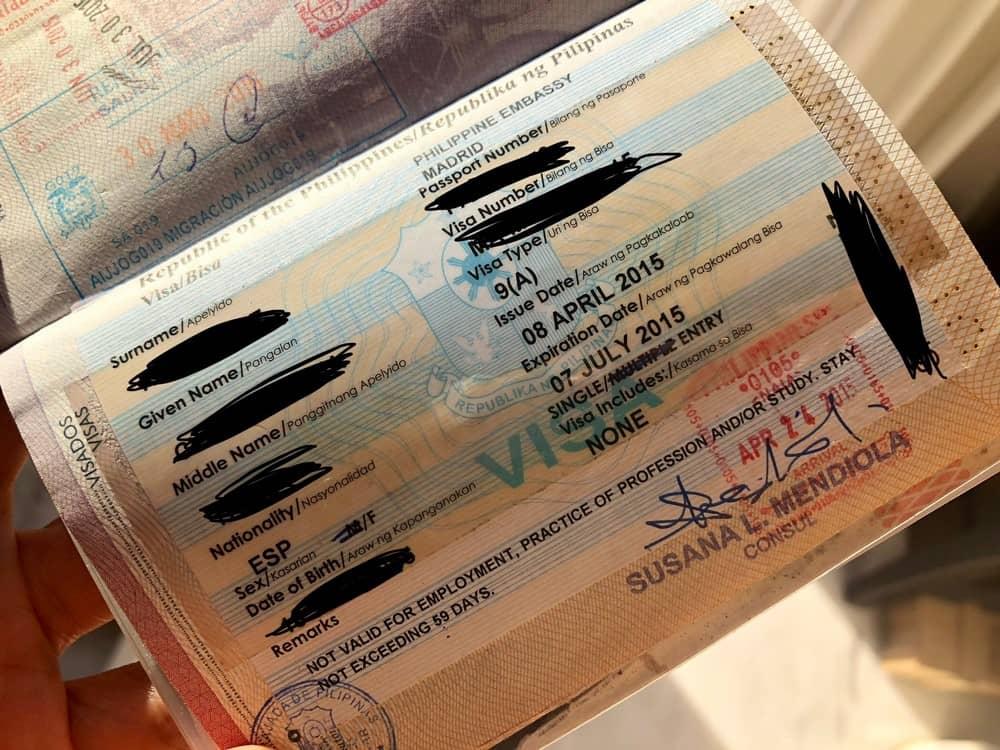 visado para filipinas obtenido en España