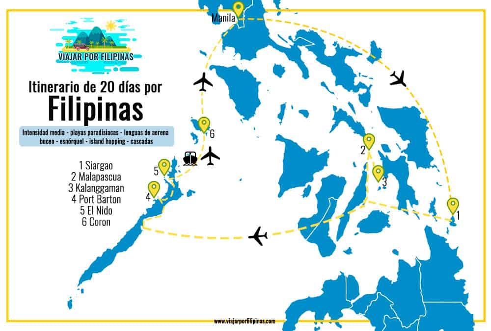mapa de itinerario viaje Filipinas 20 días