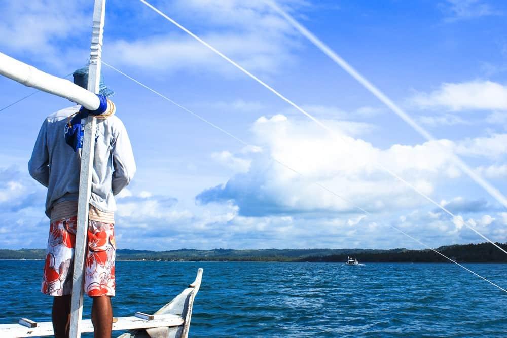 barcos oteando a tiburones ballena en Donsol