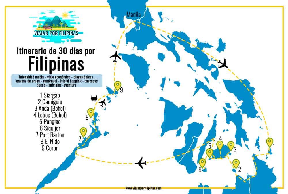 Mapa del itinerario de 30 días de viaje por Filipinas