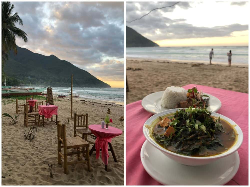 comer en la playa sabang