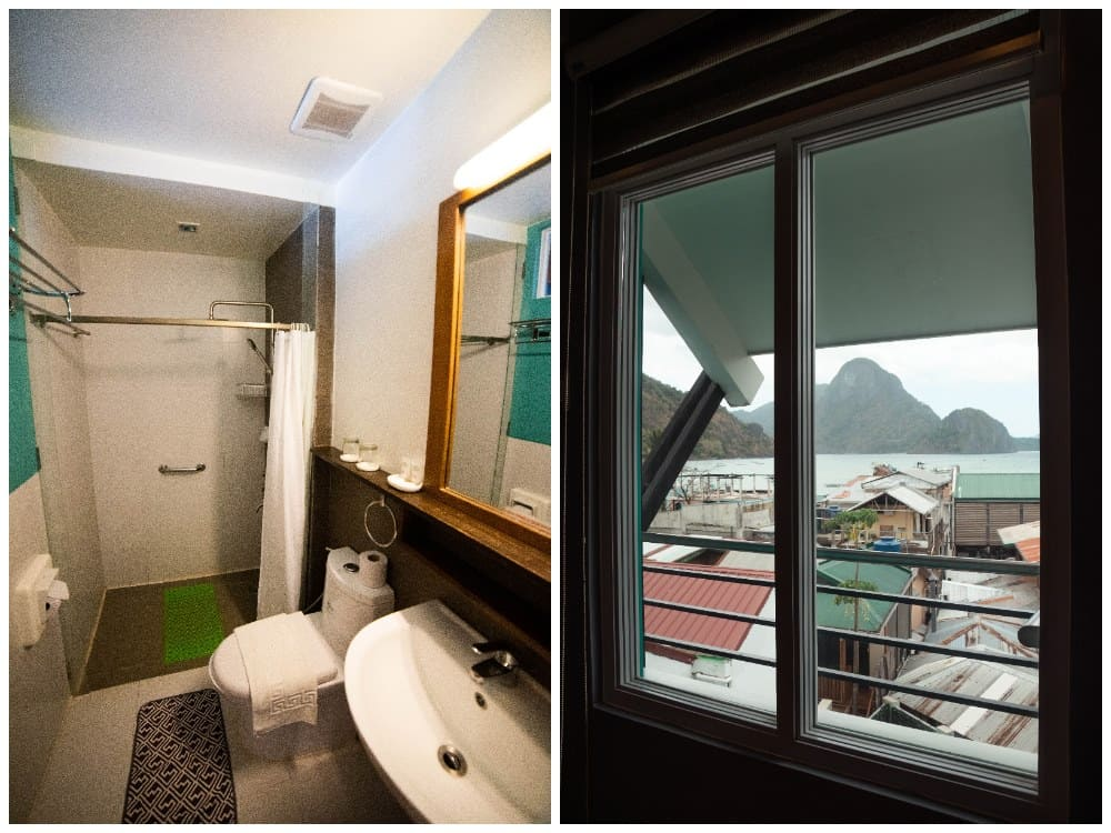 baño y vistas de la habitación