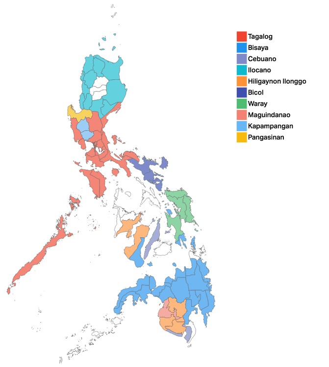 mapa idiomas filipinas
