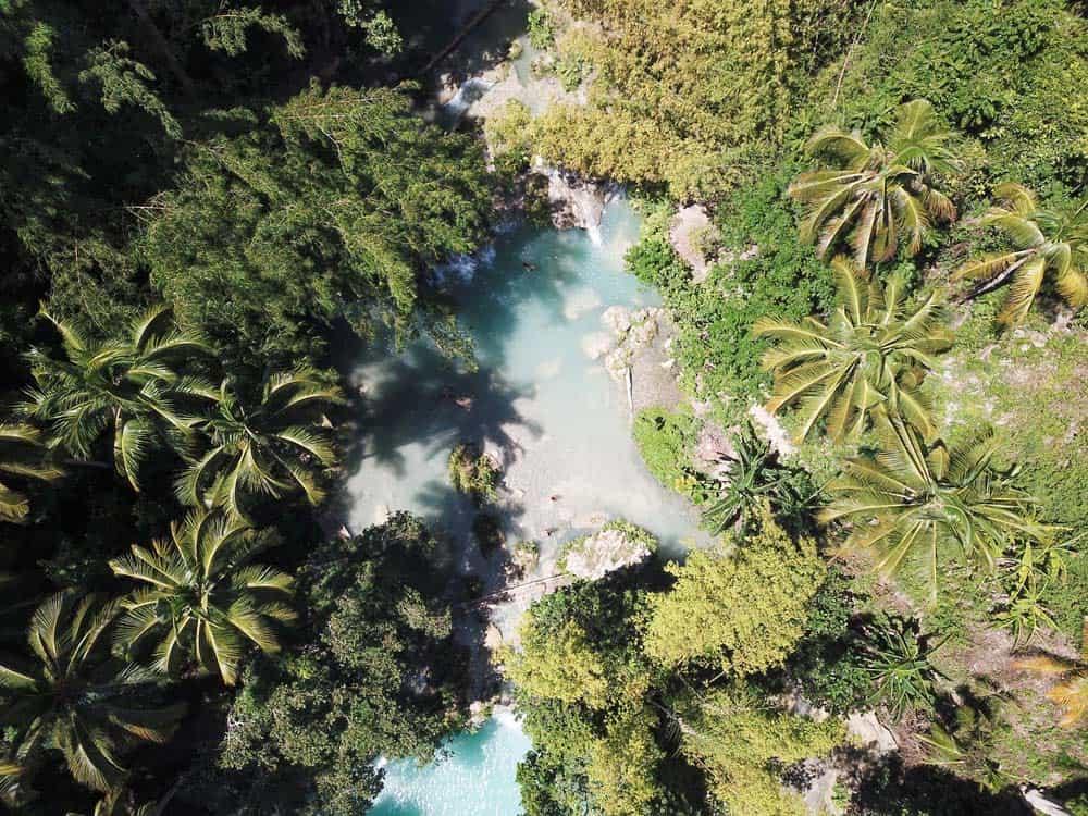 piscinas naturales del segundo nivel vistas desde el aire