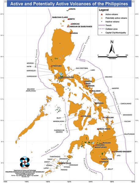 mapa volcanes de filipinas