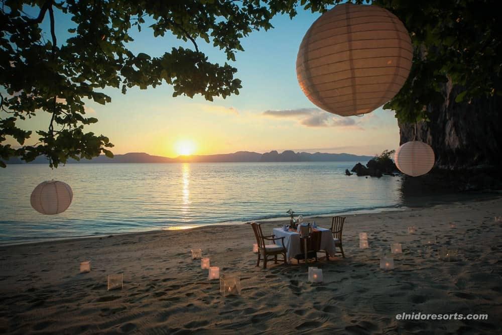 cena romántica el nido resorts lagen island
