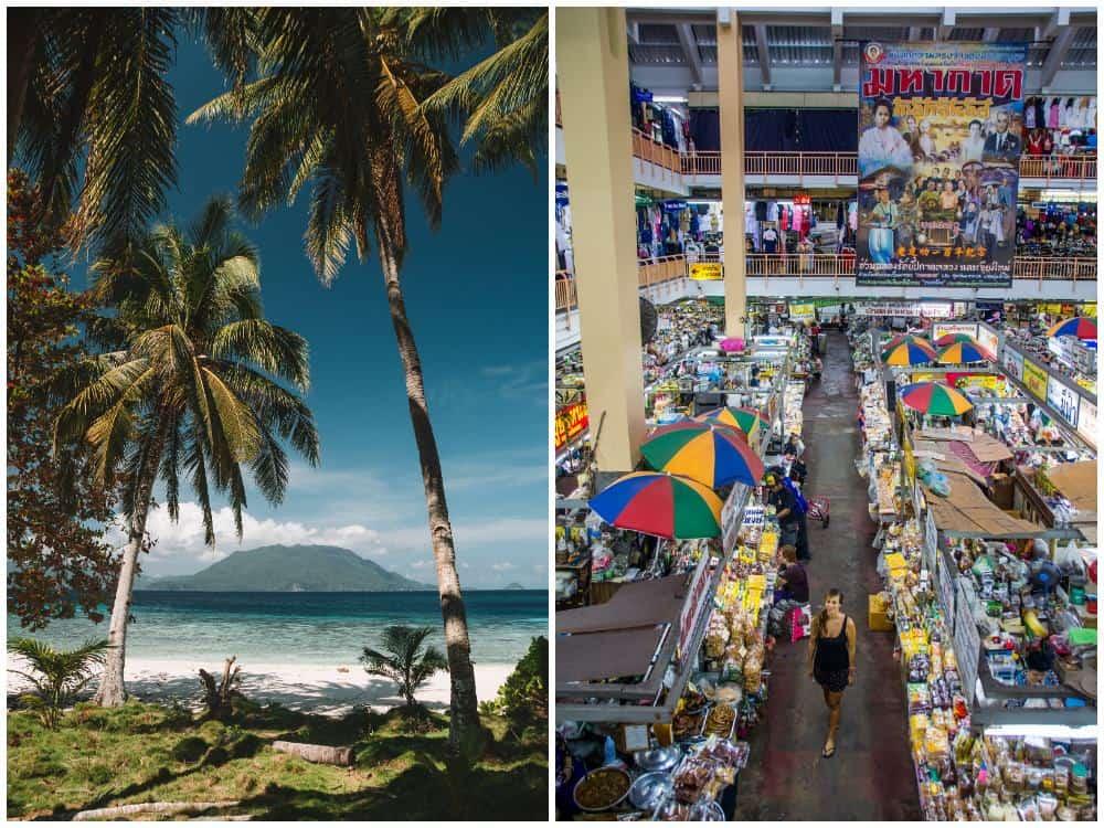 Romblon en Filipinas y mercado en Chiang Mai
